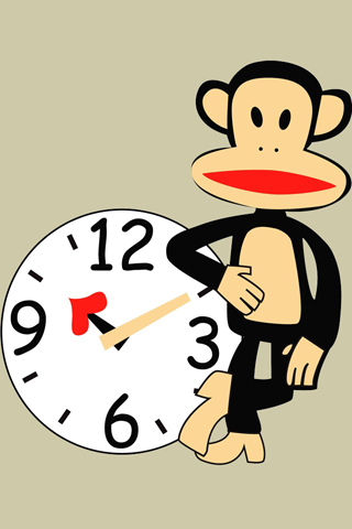 大嘴猴和时钟手机壁纸