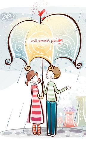 【手绘小爱情手机壁纸】手绘小爱情手机壁纸免费下载