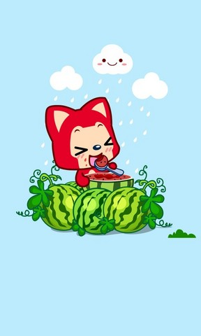 阿狸吃西瓜手机壁纸