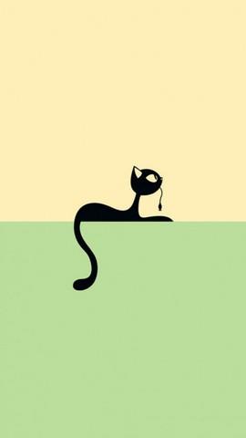 简约小猫绘图手机壁纸