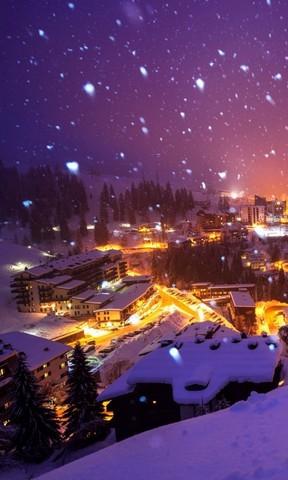 【雪夜里的城市手机壁纸】雪夜里的城市手机壁纸免费
