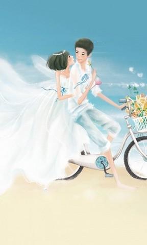 手绘现代婚纱壁纸